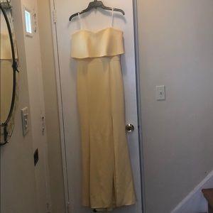 Yellow long evening dress